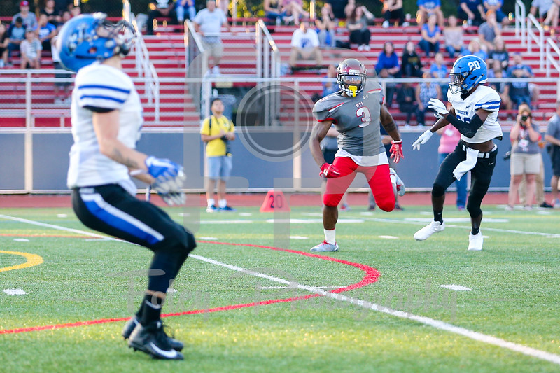 WPI Engineers Alex Domond (3) Becker College Hawks defensive back Shakir Leacock (20)