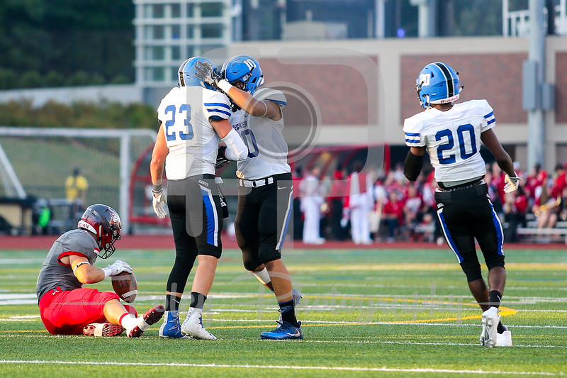 Becker College Hawks linebacker Christian Perkins (10) Becker College Hawks linebacker Joseph Linnehan (23)