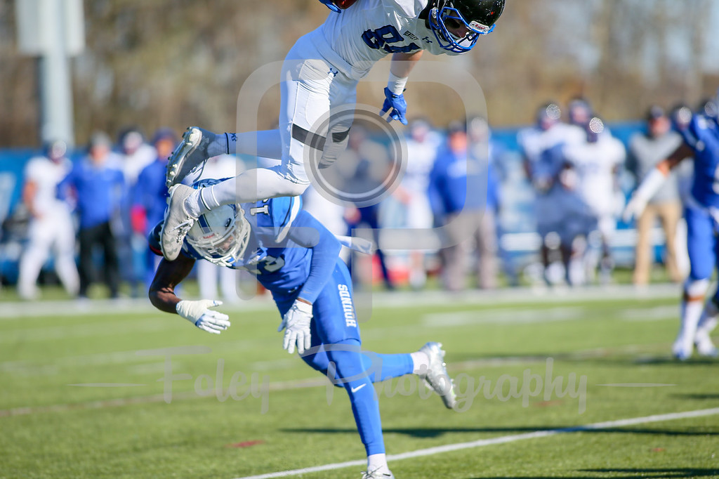 Nov. 11, 2017, Multi-Sport Stadium, Worcester, MA: during the Falcons 35-31 victory over the Greyhounds in a Northeast-10 Conference matchup.