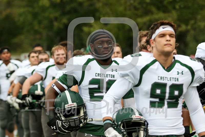 Castleton University Spartans defensive back Dylan Allhusen (26)