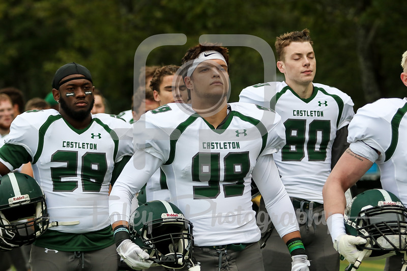 Castleton University Spartans defensive back Zak Pollicino (99)