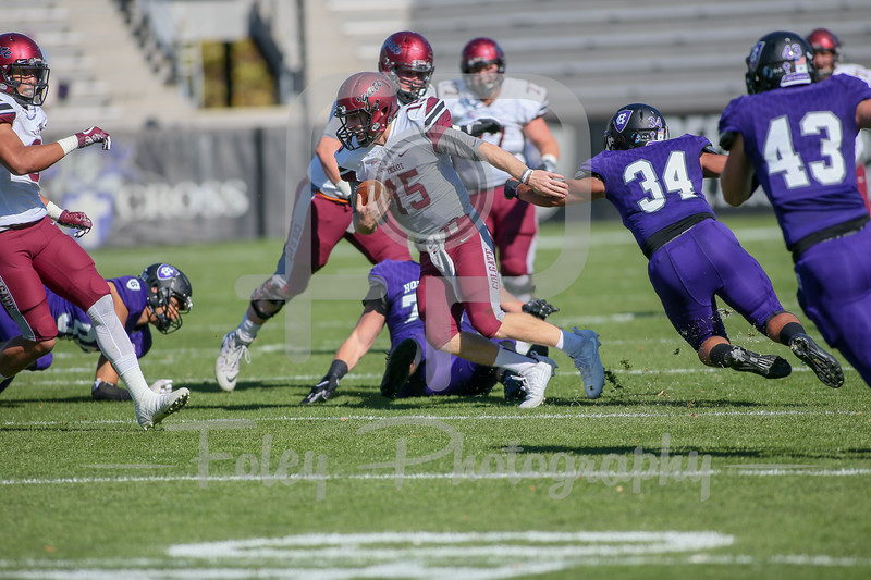 Oct. 21, 2017, Fitton Field, Worcester, MA: during the Raiders 45-7 victory over the Crusaders in Patriot League play.