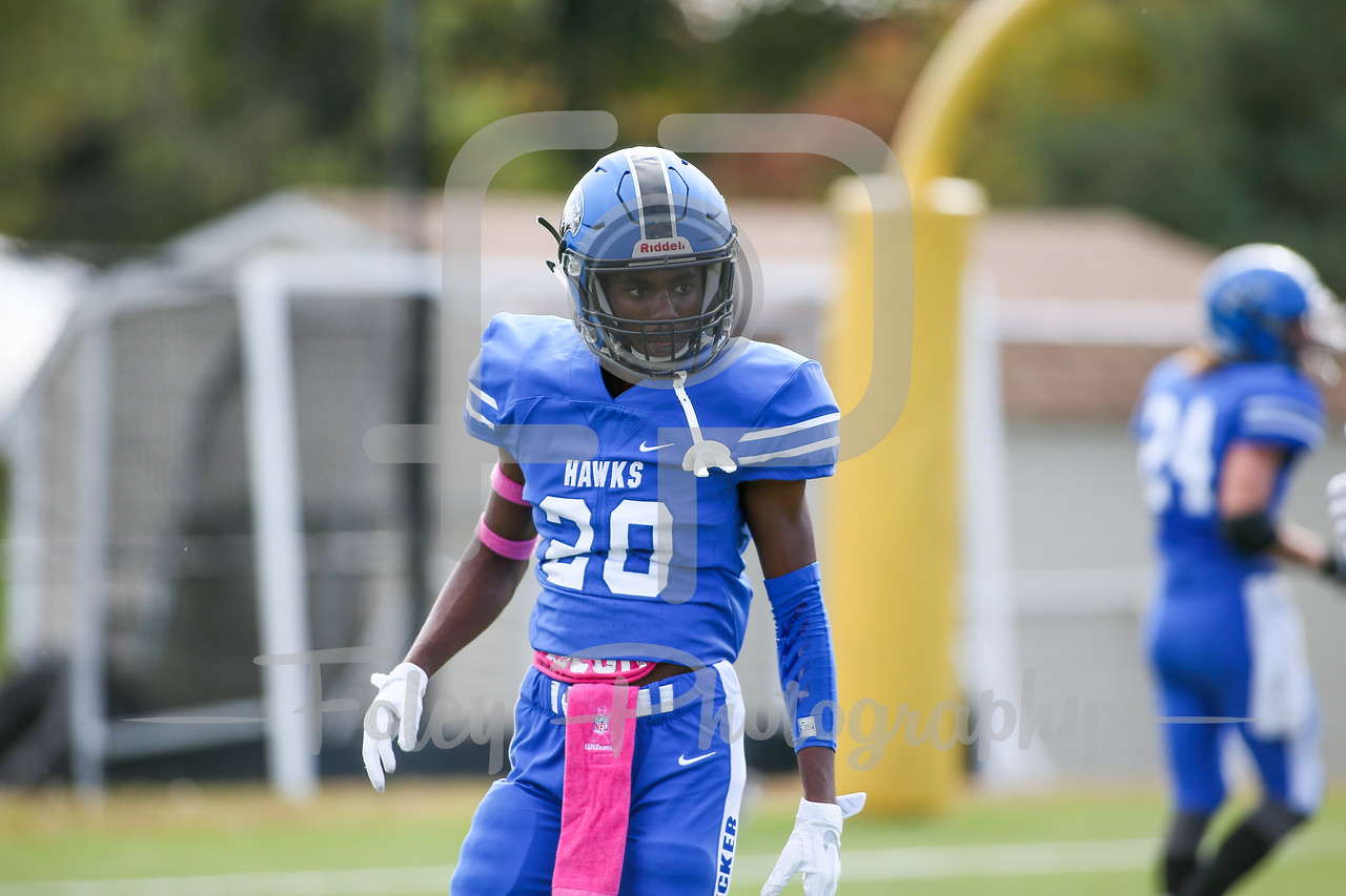 Becker College Hawks defensive back Shakir Leacock (20)