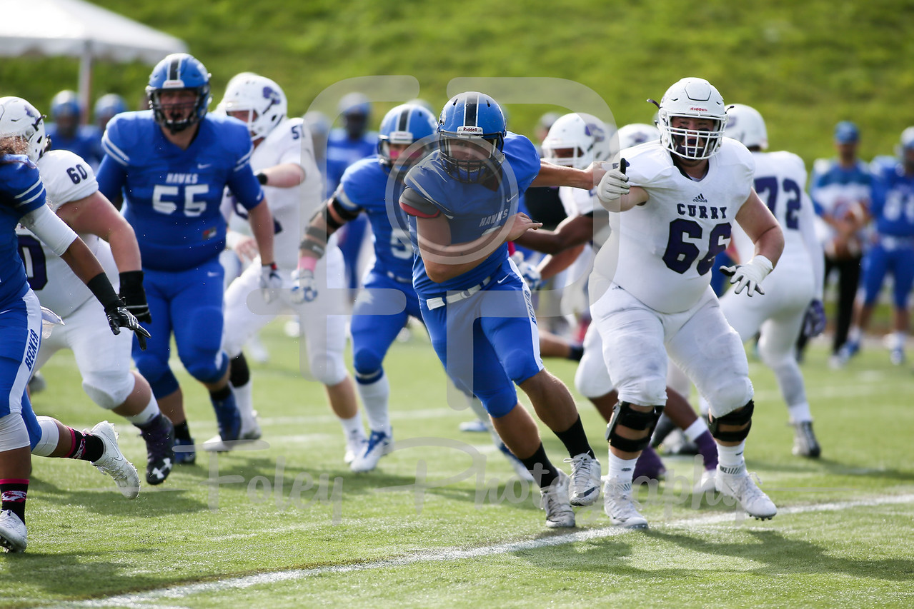 Becker College Hawks defensive lineman Brandon Mole (8)