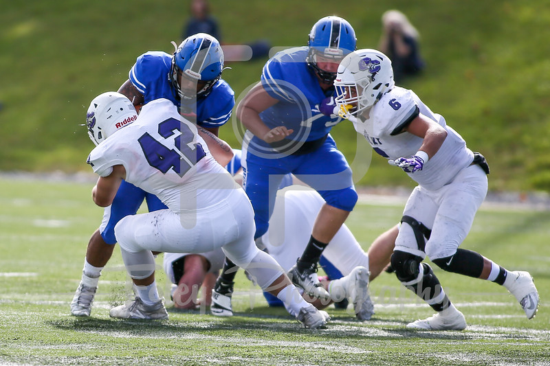 Becker College Hawks running back David Collins (26) Curry College Colonels linebacker Steven Grogan (42)