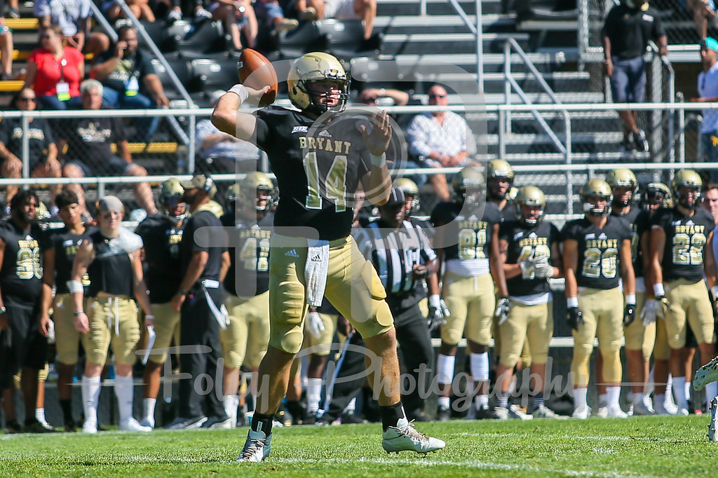 Bryant University Bulldogs quarterback Price Wilson (14)