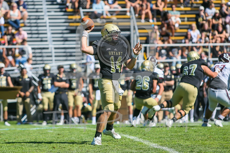 Bryant University Bulldogs quarterback Price Wilson (14)
