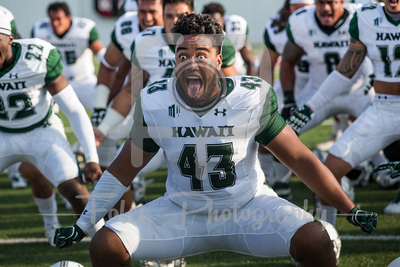 8/26/17, McGuirk Stadium Amherst, MA: performs the pregame haka before the Rainbow Warriors 38-35 victory over the Minutemen.
