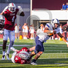 Old Dominion Monarchs quarterback Jordan Hoy (12) Massachusetts Minutemen linebacker Steve Casali (34)