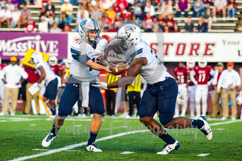 Old Dominion Monarchs quarterback Blake LaRussa (11) Old Dominion Monarchs running back Jeremy Cox (35)