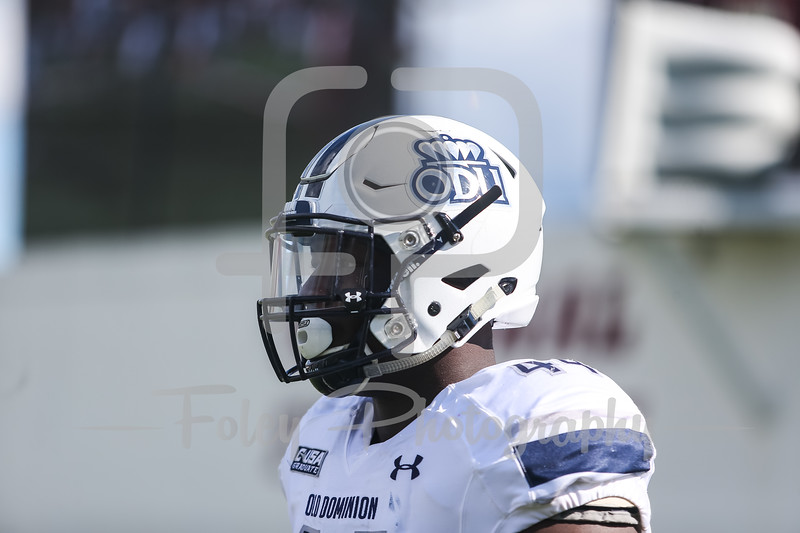 Old Dominion Monarchs defensive end Bunmi Rotimi (44)