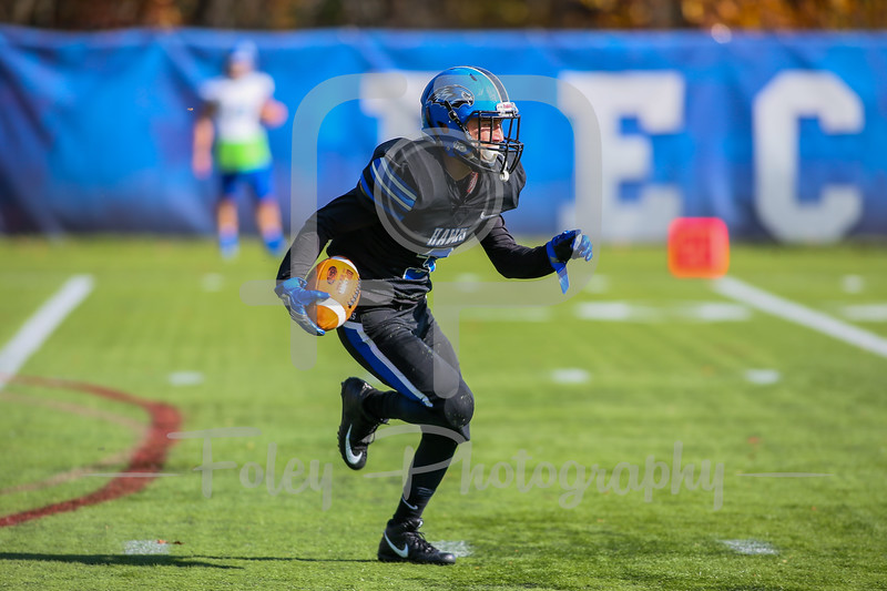 Nov. 4, 2017, Becker Alumni Field, Leicester, MA: Becker College Hawks wide receiver Michael Caban (3) returns a kick during the Seahawks 55-0 victory over the Hawks.