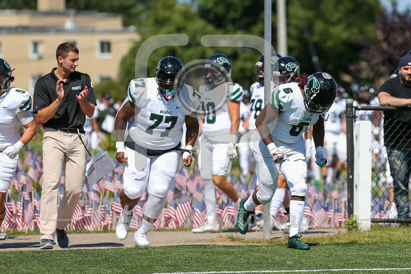 Sep. 11, 2021; Paxton, Massachusetts, USA;  during a non conference matchup between Nichols College and Anna Maria College. The Bison won the game 27-23 over the Amcats at Caparso Field. Photo by Foley-Photography.