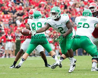 North Texas Mean Green running back Reggie Pegram (2), North Texas Mean Green quarterback Derek Thompson (7)