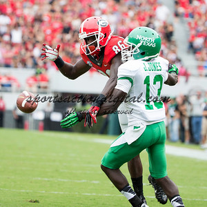 Georgia Bulldogs wide receiver Justin Scott-Wesley (86), North Texas Mean Green defensive back James Jones (13)