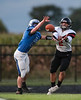 Elmwood's Daniel Duvall (28) denies Fostoria's Devin Mauricio (2) a touch down in the endzone batting the ball down on 3rd and 5.