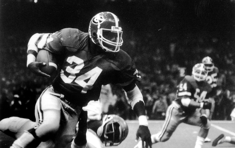 Herschel Walker, Georgia's legendary Heisman Trophy running back, in the 1981 Sugar Bowl game versus Notre Dame. (Photo from Georgia Sports Communication)