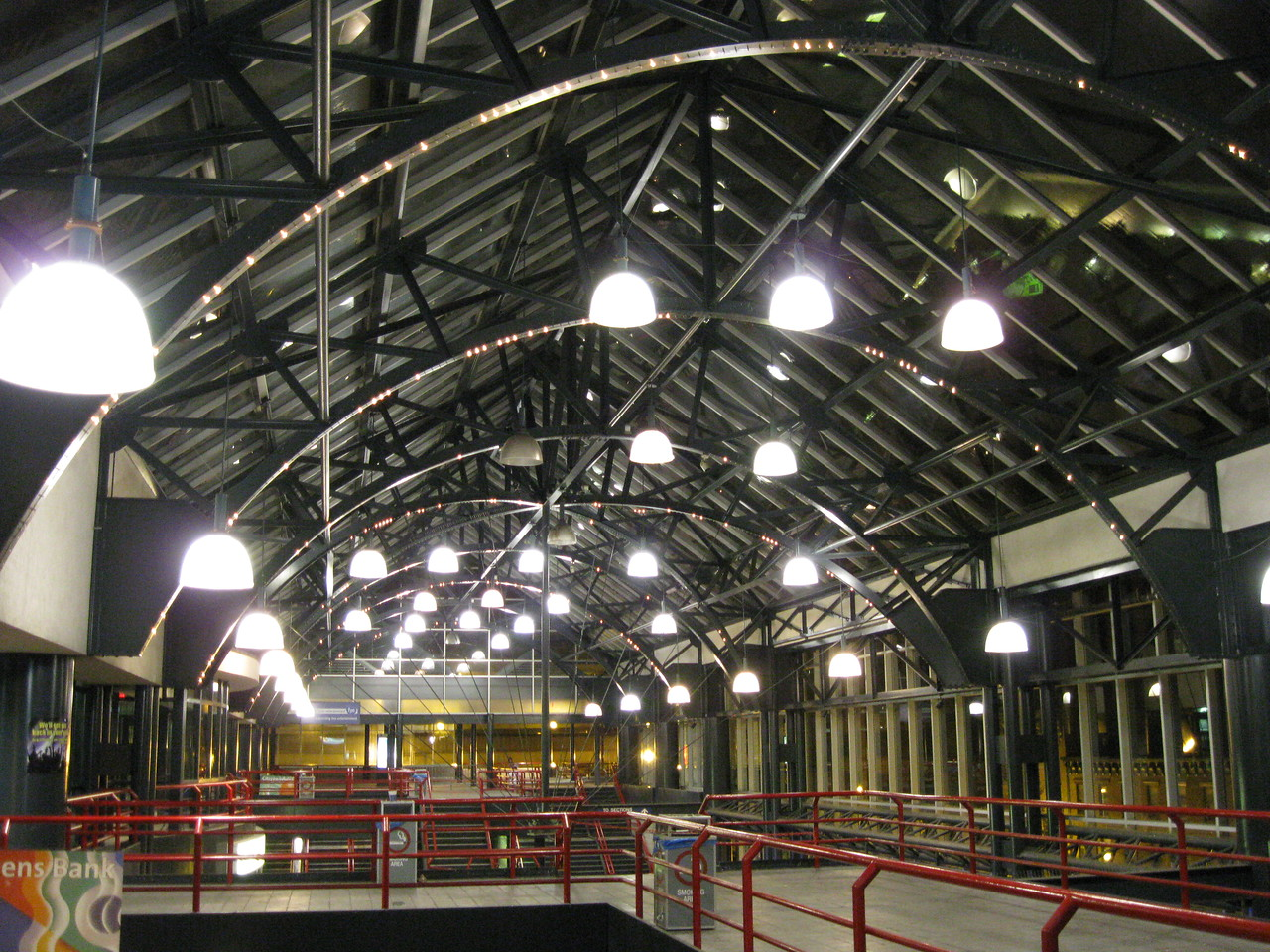 The Times Union Center porch ceiling at night.