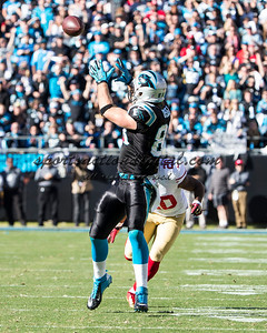Carolina Panthers tight end Greg Olsen (88), San Francisco 49ers defensive back Perrish Cox (20).