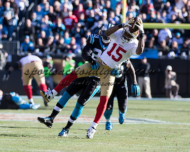 San Francisco 49ers wide receiver Michael Crabtree (15), Carolina Panthers cornerback Melvin White (23)