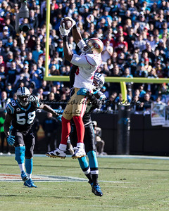 San Francisco 49ers wide receiver Michael Crabtree (15), Carolina Panthers running back Jonathan Stewart (28)