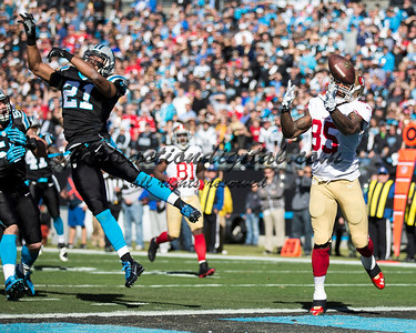 San Francisco 49ers tight end Vernon Davis (85), Carolina Panthers free safety Mike Mitchell (21)