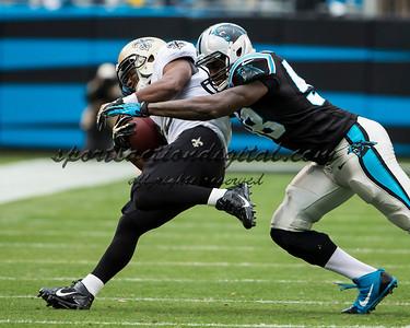 New Orleans Saints running back Darren Sproles (43), Carolina Panthers outside linebacker Thomas Davis (58)