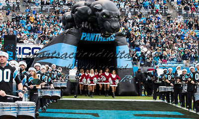 The topcats take the field before the players.