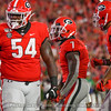 Justin Shaffer (54),  D'Andre Swift (7) and Lawrence Cager (15)