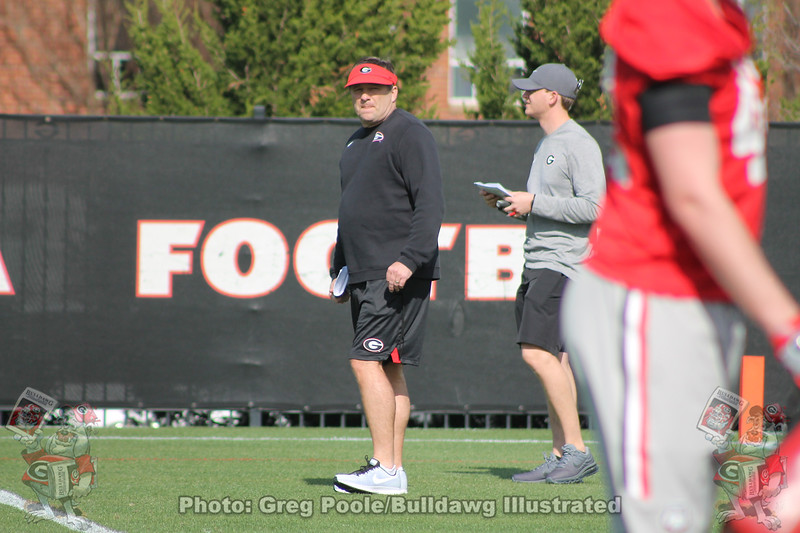 Kirby Smart - Spring Practice Day 1 - March 20, 2018 Photo: Rachel Floyd/Bulldawg Illustrated