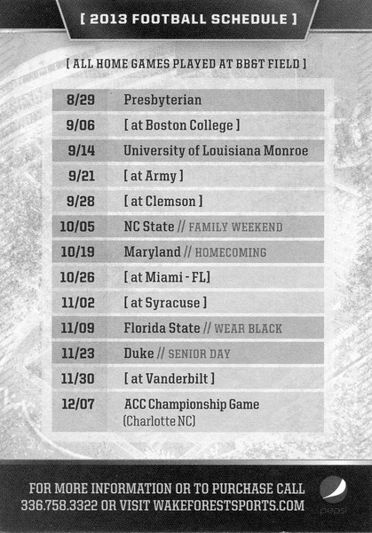 wake forest football pocket schedule<br /> 2010s