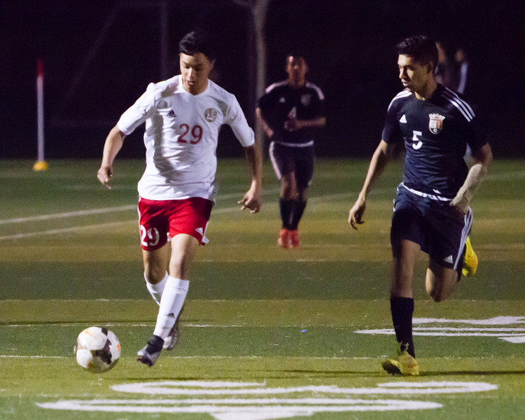 The Lindsay Cardinal boys soccer team ran their East Sequoia League record to 10-0 with a 3-0 win over the visiting Woodlake Tigers. Lindsay Cardinal Estevan Moreno (29) pushes play up field.