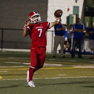 Lindsay Cardinal QB Thomas Flores (7) was roughed up in their season opener against the Exeter Monarch. Flores left the game in the fourth quarter with a shoulder injury. Exeter won the contest by a 42-14 score.