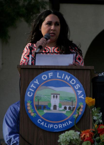 Lindsay Mayor Ramona Villareal-Padilla reads a city proclamation at the 2014 OBF Queen Coronation.