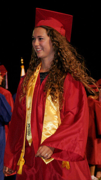 Strathmore High 2014 graduate Anna Clifton is all smiles as she is called to receive her diploma at the Spartan's graduation ceremony on Friday, May 23, 2014.
