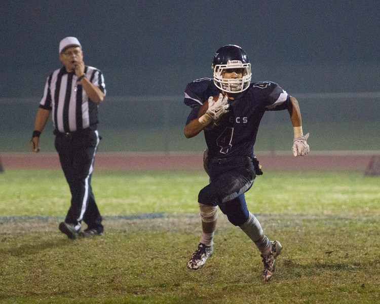Farmersville scored a 41-39 victory over the visiting McFarland Cougars  behind a 163 yard and 1 TD effort by Victor Castrejon (4) pictured.