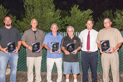 "Honorees at the inaugural Strathmore Football Hall of Fame Dinner included (l to r) Matt Gartung, Dave McDaniel, Jerry Crawford, Community Service Award Winner Joe Vidrio, Strathmore football coach Jeromy Blackwell, and Joe McCowan. The Community Service Award will be named the ""Joe Vidrio Community Service Award"" from now on."