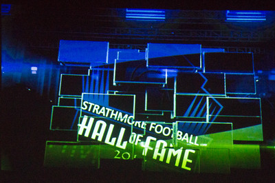 Powerpoint graphic during the inaugural ceremony of the Strathmore Football Hall of Fame dinner held on Saturday, August 8 at Joe Lopez Ranch in Strathmore.