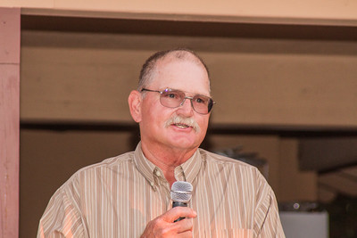 Strathmore Football Hall of Fame inductee Joe McCowan addresses the guests at the inaugural induction ceremony held Saturday, August 8th at Joe Lopez Ranch in Strathmore.