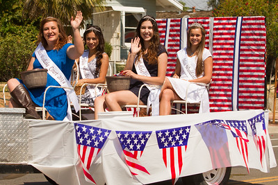 Miss Woodlake 2015, Sayge Davis and her court, Shelby Anderson, Mayra Sandoval, and Lucianna Aguilar rode in the Woodlake Lions Rodeo Parade. Court member KiAnna Cunningham was unable to attend.
