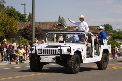 Tulare County Sheriff Mike Boudreaux wave to member of the Woodlake community during the 2015 Woodlake Lions Rodeo Parade on Saturday, May 9th.