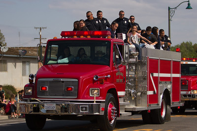 The Woodlake Police and Fire Departments led the 2015 edition of the Woodlake Rodeo parade.