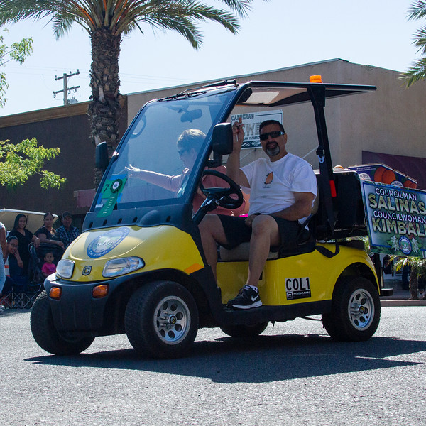 Participants in the 2016 Lindsay Orange Blossom Festival parade. Lindsay city councilman, and 2016 Orange Blossom Chairman, Danny Salinas, along with councilwoman Pam Kimball, wave to the crowds along the OBF parade route.
