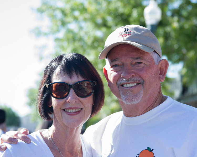 Participants in the 2016 Lindsay Orange Blossom Festival parade. Orange Blossom Festival Honored Couple Dennis and Rhonda Medders are all smiles at the Orange Blossom Festival parade.