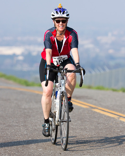 Elizabeth Dieterle of Porterville is all smiles as the reaches the to of Rocky Hill during the 3rd Annual Rocky Hill Triathlon held in Exeter in Saturday, March 11th.