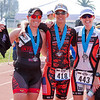 Rocky Hill Triathlon women's Olympic distance winner Teresa Lovero (Center), poses for a picture with the 2nd place finisher Cheryl Claes (left) and 3rd place finisher Julie Landers (right).
