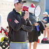 Rocky Hill Triathlon Race Director Charles Duby gives directions to participants in the 3rd Annual Rocky Hill Triathlon held on Saturday, March 11, 2017 in Exeter.