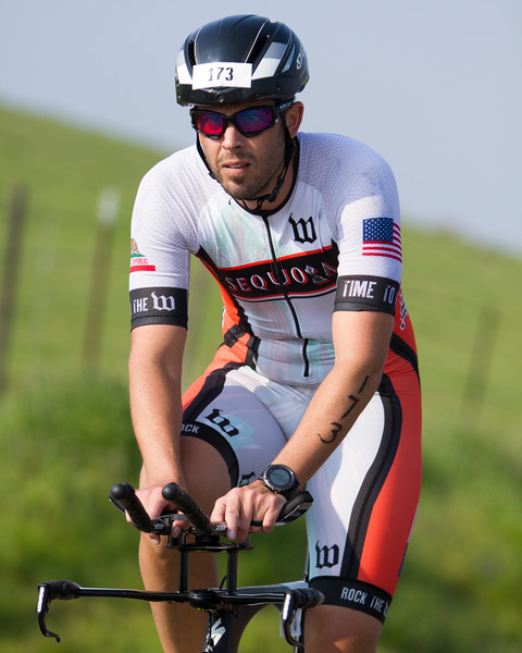 Sequoia Orange team member Kevin Martin is deep in concentration as he ascends Rocky Hill during the 3rd Annual Rocky Hill Triathlon held in Exeter on Saturday, March 11th.