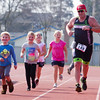 Tulare's Steve Payton (149) and his children run the final few yards of the 3rd Annual Rocky Hill Triathlon. The event was held in Exeter on Saturday, March 11th.