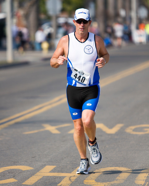 Michael Jones (440) of Bakersfield runs the streets of Exeter during the 3rd running of the Rocky Hill Triathlon held on Saturday, March 11th in Exeter.